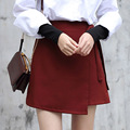 Yichaoyiliang 2017 Summer New Sweet Girls Skirt Wine Red Asymmetrical A-line Mini Skirt with Sashes High Waist Patchwork Skirt