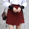 Yichaoyiliang 2017 verano nueva sweet girls falda vino tinto asimétrico a-line mini falda con fajas de cintura alta falda del remiendo