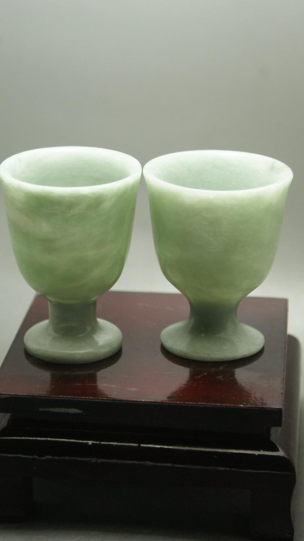 Prachtige Chinese jades drinkbeker mooie natuurlijke kleur handgemaakte wijnbeker gratis verzending