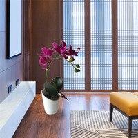 1 UNID Vivid Phalaenopsis Flores Artificiales Real Touch Planta Fake Silicona Arreglo Floral Home Flor Decorativa + Jarrón