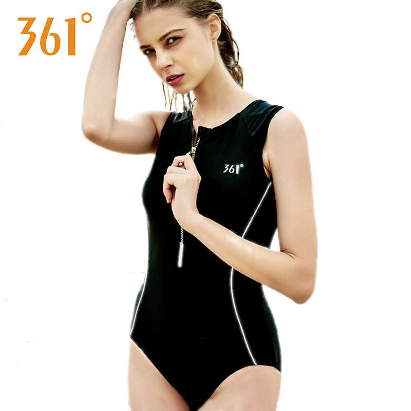 6ed8f6a9f868c 361 Sports Bathing Suit for Women Competition Swimwear One Piece Swimsuit  Zipper Red Black Pool Swim