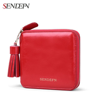 Sendefn Genuine Leather Mini Tassel Short Women Wallet Lady Short Pocket Wallet Coin Purse Card Holder