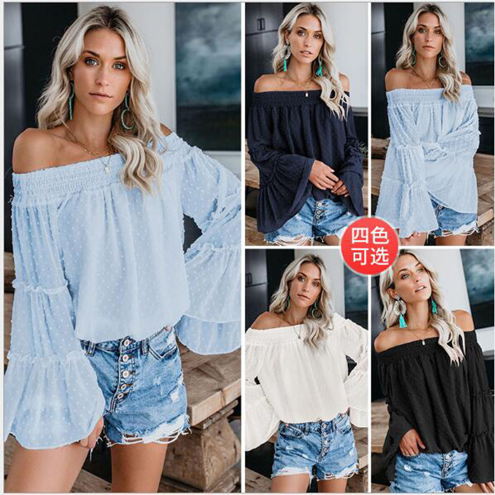 2019 Fashion Women Loose One Shoulder Tops Shirt Summer Casual Floral T shirt Off the shoulder Flare Sleeve Tee shirt in T Shirts from Women 39 s Clothing