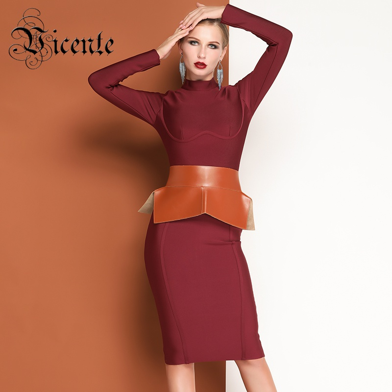 Vicente HOT Trendy Red Wine Midi Dress Long Sleeveless Stand Collar 2019 New Wholesale Celebrity Party