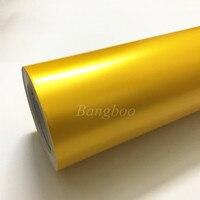 Высокое качество 1,52x20 м Атлас желтый хром металлик автомобиля обёрточная Бумага Винил с пузырьков воздуха