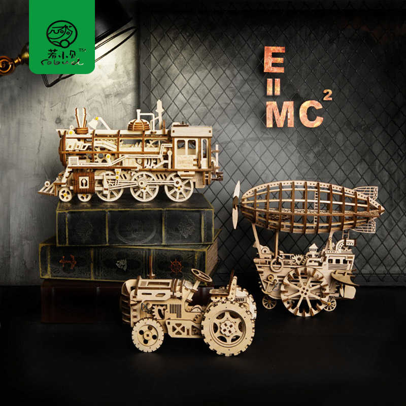 Robud DIY Wooden Mechanical Model Building Kits 3D Laser Cutting Clockwork Toys Hobbies Gift for Children LK for Dropshipping