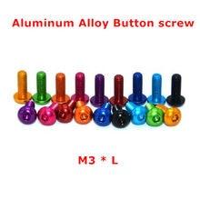 20 pces de alumínio botão parafuso m3 coulorful anodizado de alumínio hex soquete botão cabeça tampão parafuso m3 * 5/6/8/10/12/14/16mm