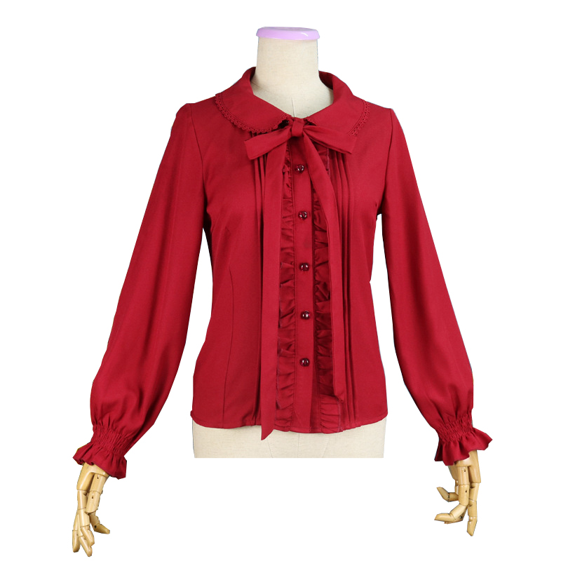 Women Long Sleeve Blouse Peter Pan Collar Lolita Chiffon Shirt Tops