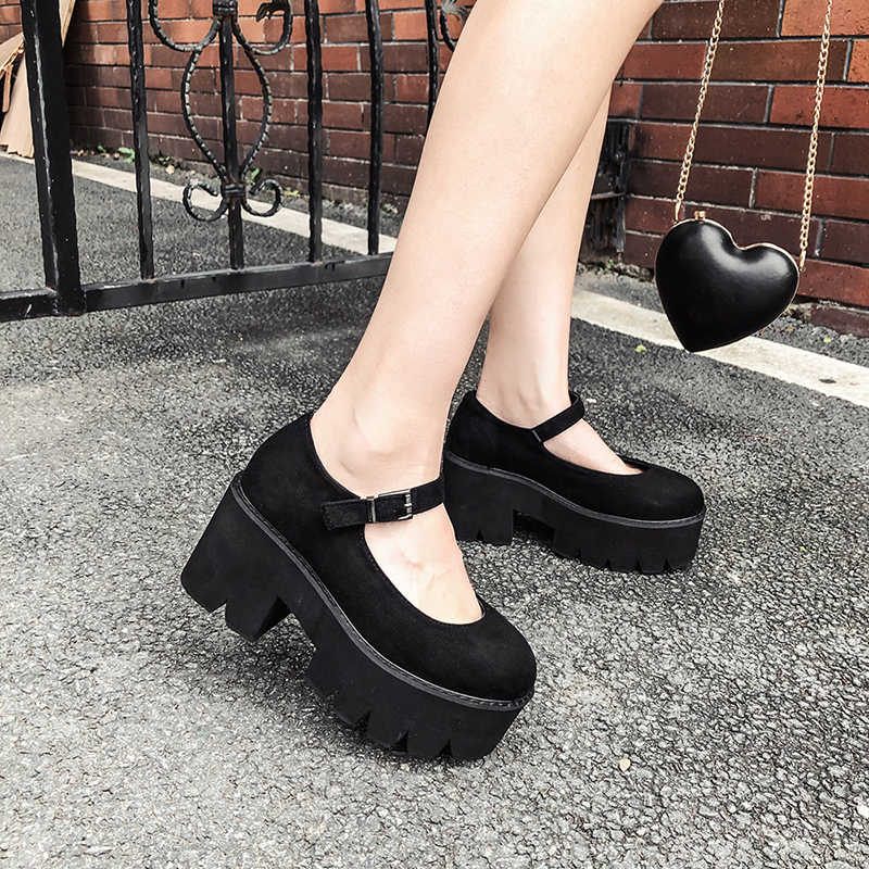 YMECHIC 2018 Autumn Spring Platform Heels Gothic Punk Office Ladies Shoes Black High Heel Mary Jane Shoes Flock Woman Pumps 40