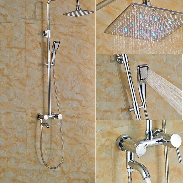 8 in LED Lights Brass Chrome Polish Shower Set Wall Mounted Bathroom ...