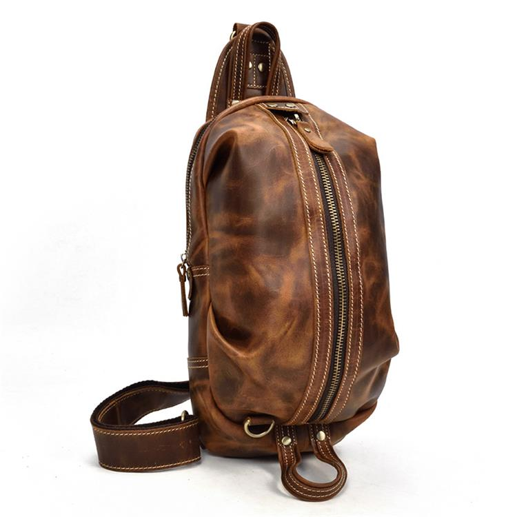 Image 5 - MAHEU Mens Genuine Leather Chest Bag Leather Big Capacity  Crossbody Bag Casual Male Riding Messenger iPad Cell Phone Sling  Bagchest bagbag casualmessenger bag