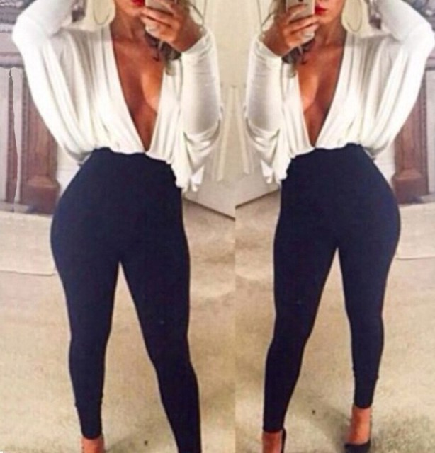 a26ea46914f9 New Unique Design Lady Khaki White Patchwork Black Sexy Jumpsuits Bat  Sleeves Deep V Neck Loose Up Tight Bodysuit Night Clubwear