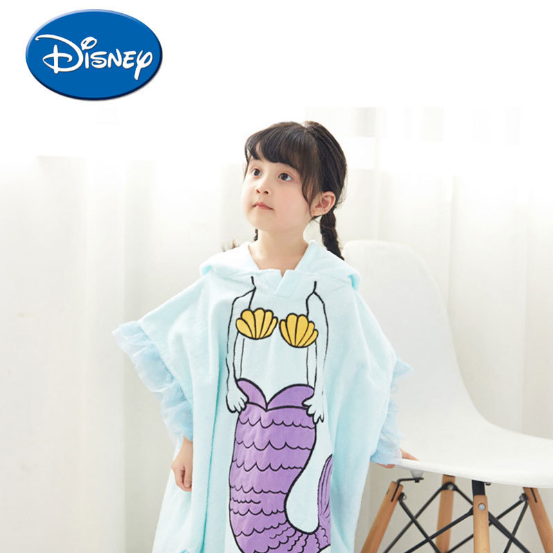 Disney Mermaid Hooded Towel Children Cartoon Bathrobe Cotton  Breathable Soft Baby Bath Towel