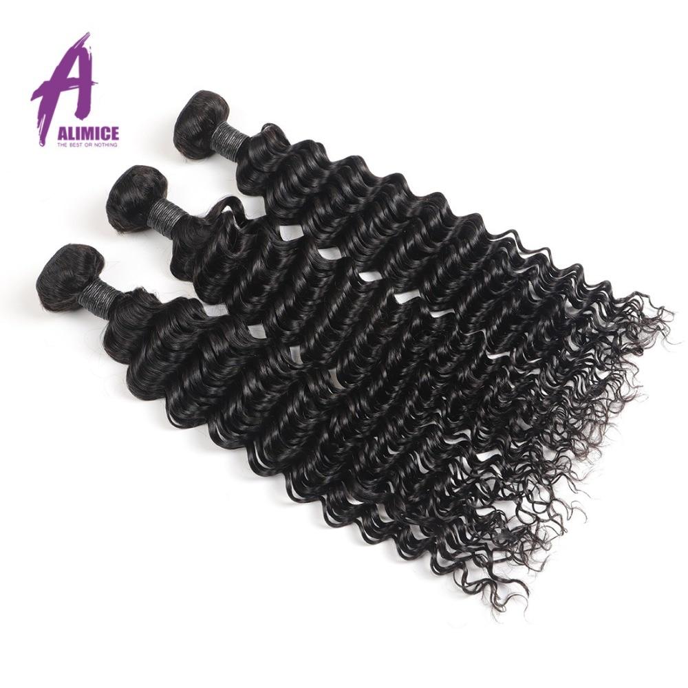 Alimice Peruaanse Haarbundels Diepe Golf Human Hair Extensions 100% - Mensenhaar (voor zwart) - Foto 4