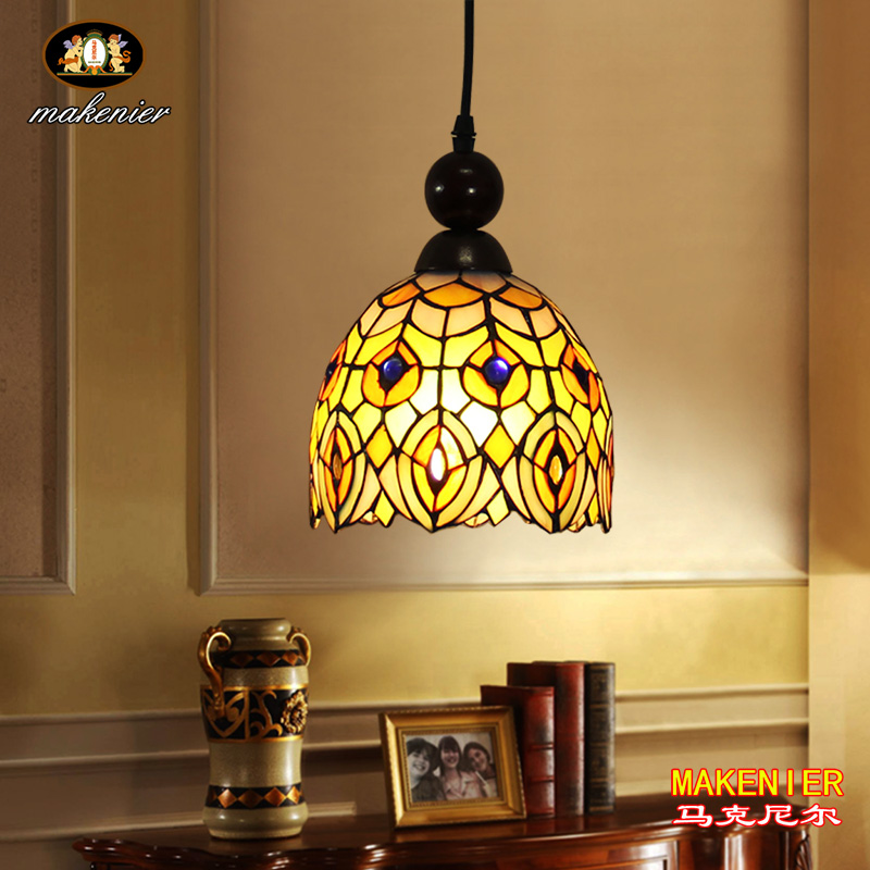 Makenier Tiffany Style Stained Glass Peacock Tail Vintage Small Pendant Lamp, 7 Inches Lampshade snsd tiffany autographed signed original photo 4 6 inches collection new korean freeshipping 012017 01
