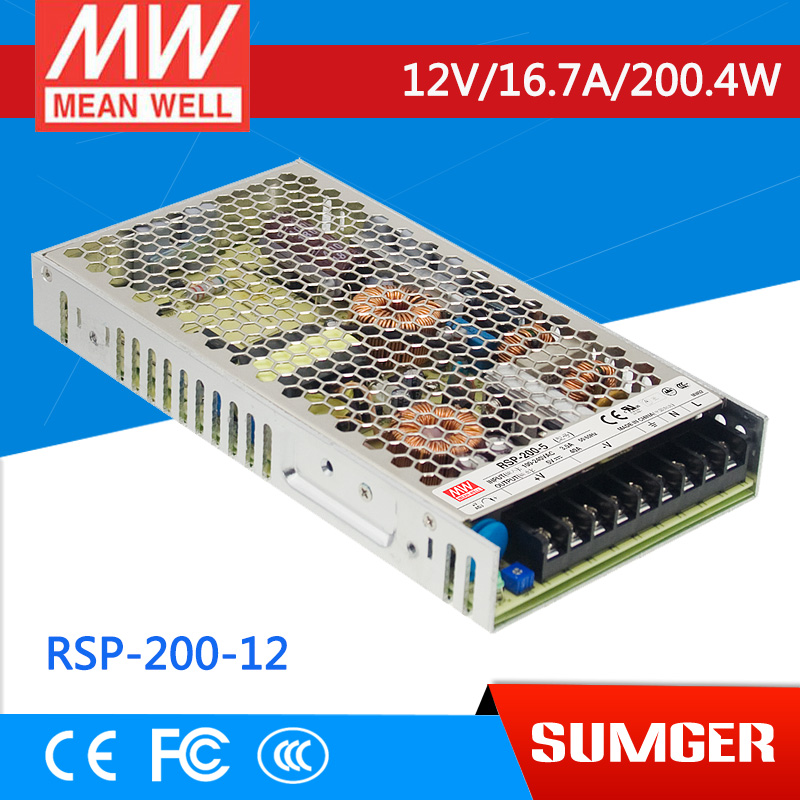 ФОТО [Freeshiping 1Pcs] MEAN WELL original RSP-200-12 12V 16.7A meanwell RSP-200 200.4W Single Output with PFC Function Power Supply