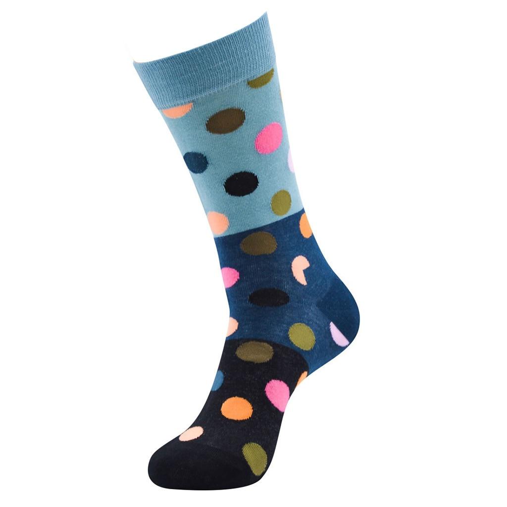 1 пара, удобные хлопковые носки унисекс в горошек, хлопковые носки средней длины, удобные длинные носки для женщин и мужчин - Color: Black