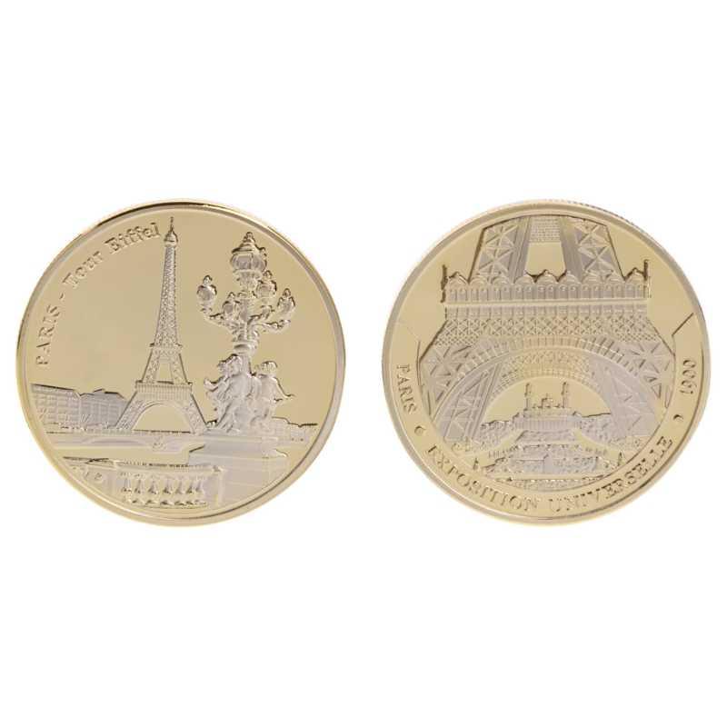 Herdenkingsmunt Parijs Tower Building Collection Arts Geschenken Btc Bitcoin Legering Parijs Toren Herdenkingsmunt Non Valuta Coin