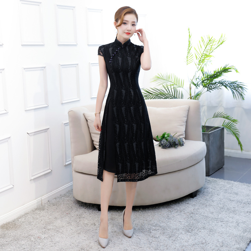 Summer Black Female Lace Printed Qipao Vietnam Aodai Cheongsam Mandarin Collar Slim Chinese Traditional Dresses Oversized