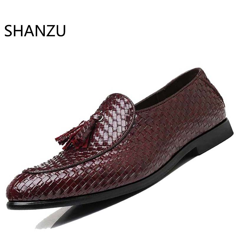 a2beef77ce21a Fringe Slip On Men Shoes Tassel Loafers Artificial Leather Shoes Men  Pointed Toe Weaving Shoes For Men Zapatos Hombre 633