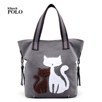 2017 High Quality Fashion Women S Handbag Cute Cat Tote Bag Lady Canvas Bag Shoulder Bag