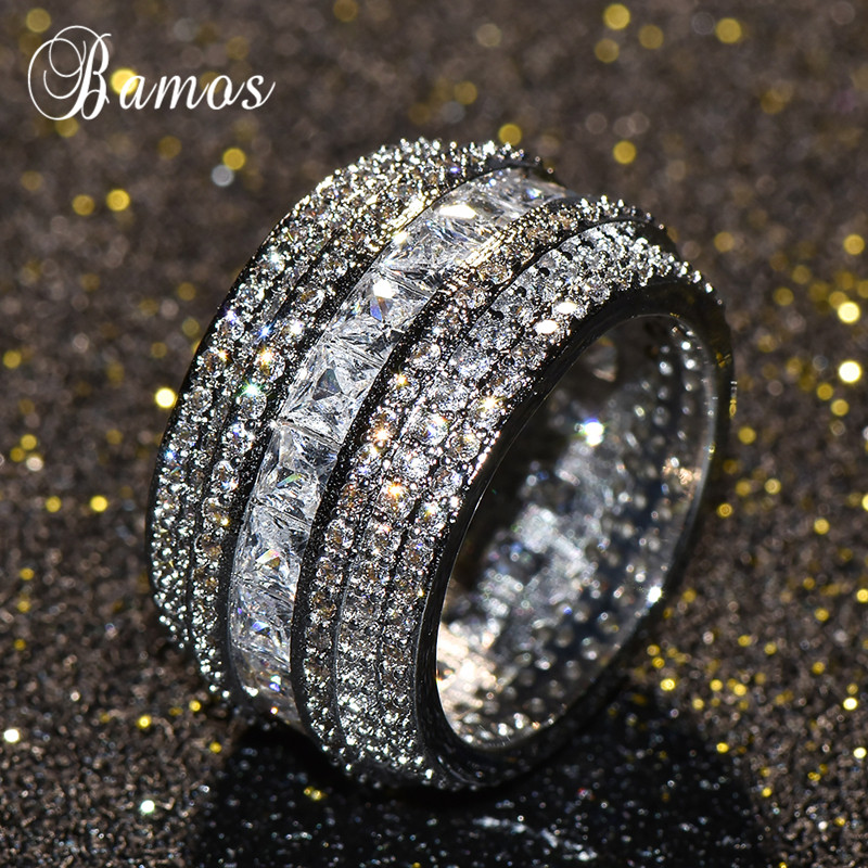 Bamos Luxury Cubic Zirconia Promise Ring White Gold Filled Big Engagement Rings For Women Fashion Wedding Jewelry Accessories