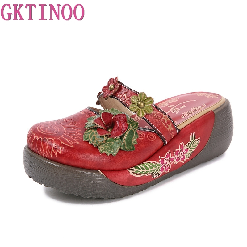GKTINOO Flower Slippers Genuine Leather Shoes Handmade Slides Flip Flop On The Platform Clogs For Women