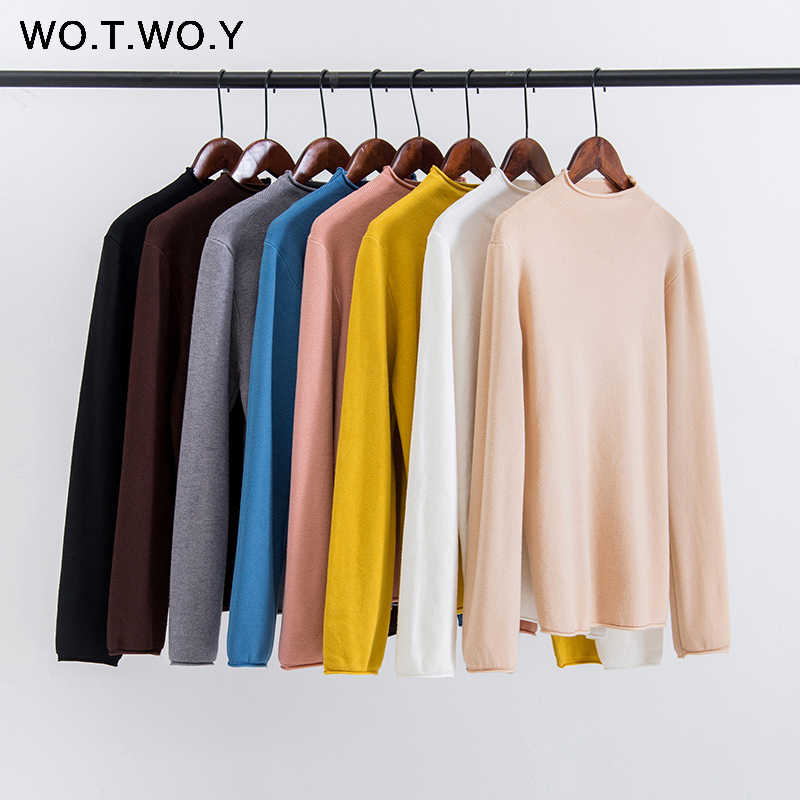 WOTWOY Autumn Winter Slim Ruffles Knitted Sweaters Women 2019 Casual Basic Solid Pullovers Ladies Korean Style Pink Jumpers