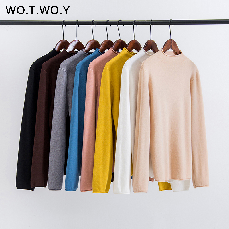 WOTWOY Autumn Winter Slim Ruffles Knitted Sweaters Women 2020 Casual Basic Solid Pullovers Ladies Korean Style Pink Jumpers