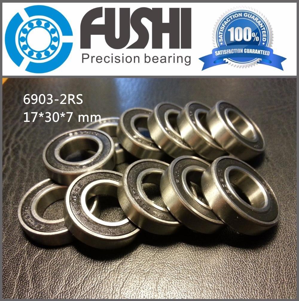 6903-2RS Bearing ABEC-1 (10 Pcs) 17x30x7 mm Thin Section 6903 2RS Ball Bearings 6903RS 61903 RS 1pcs 71901 71901cd p4 7901 12x24x6 mochu thin walled miniature angular contact bearings speed spindle bearings cnc abec 7