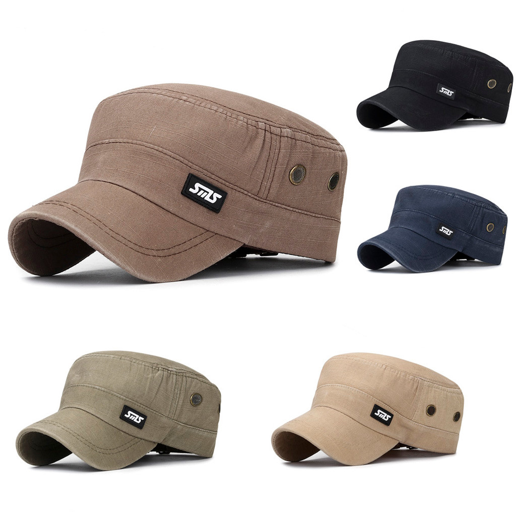 New Hot Unisex Military Style Army Flat Cap Vintage Baseball Cap Sport Sun Hat