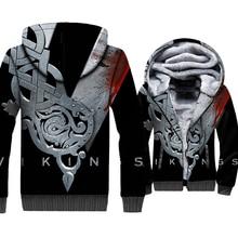 Fashion Mens Jackets VIKINGS 3D Pattern Brand Clothing 2018 Autumn Winter Thick Coats Punk Sweatshirts For Men Hip Hop Hoodies