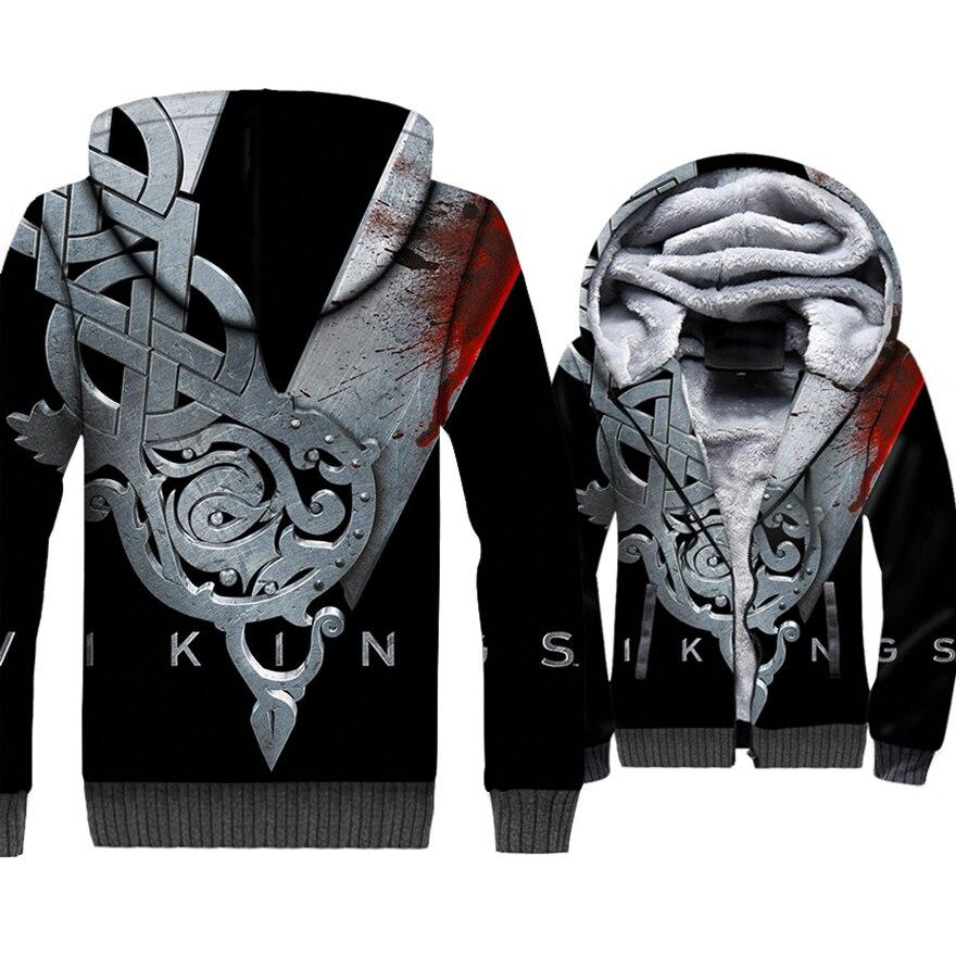 Mode hommes vestes VIKINGS 3D motif marque vêtements 2018 automne hiver épais manteaux Punk Sweatshirts pour hommes Hip Hop Hoodies