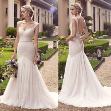 Exquisite Intricate Lace Over Bodice a-Line Design Destination Mermaid Wedding Dress See Through Chiffon Plus Size Bridal Dress(China)