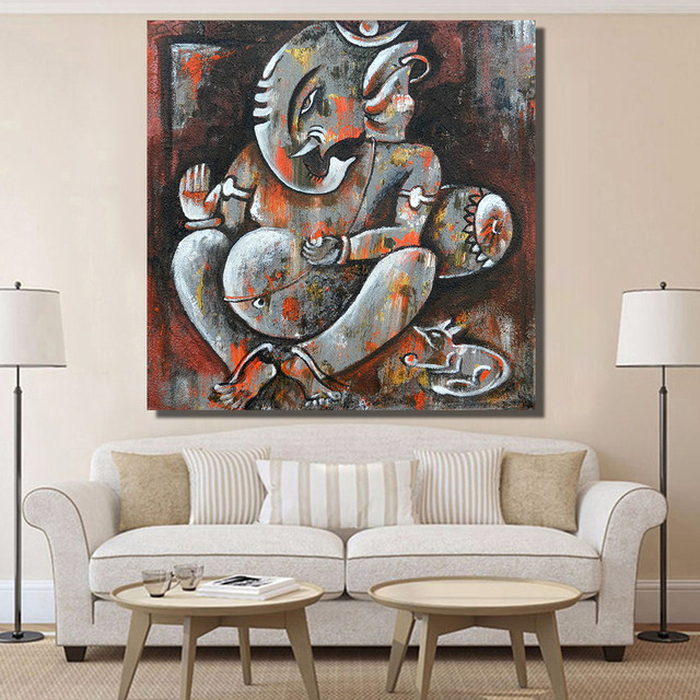 CHENFART Modern Art Lord Ganesha Oil Painting Buddha Wall Art Canvas  Painting For Living Room No Frame