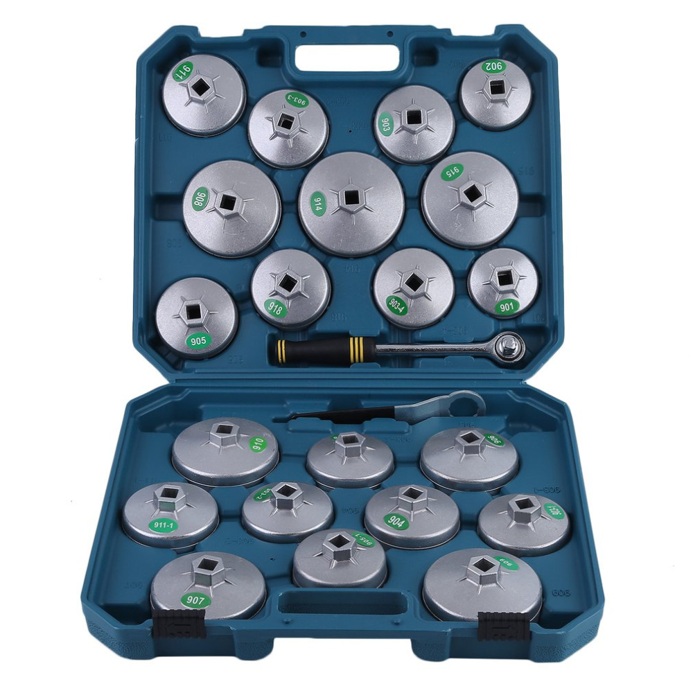 23pcs Professional Auto Car Vehicle Removal Wrench Cup Socket Set Aluminum Oil Filter Change Wrench Car Maintenance Accessories 20pcs m3 m12 screw thread metric plugs taps tap wrench die wrench set