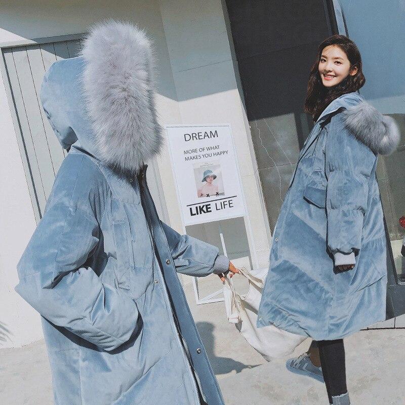 2018 Long Cotton Polyester Winter Coat Faux Fur Jackets Ladies Warm Winter   Parkas   Female Overcoat Women Outerwear
