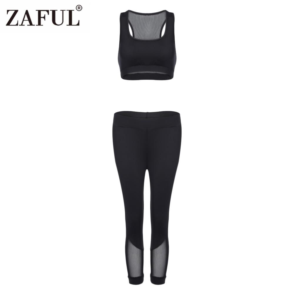 ZAFUL Women Sport Suit Round Collar Padded Spliced Mesh Crop Top+Cropped Leggings Gym Ru ...