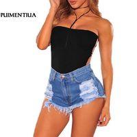 Puimentiua 2018 повседневные летние женские джинсовые шорты модные с высокой талией рваные джинсовые шорты с кисточками женские тонкие шорты для ...