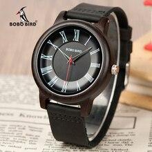 Bobo amantes do pássaro relógio de bambu madeira relógios pulseira de couro requintado quartzo relógios de pulso para homens e mulheres presentes na caixa de madeira