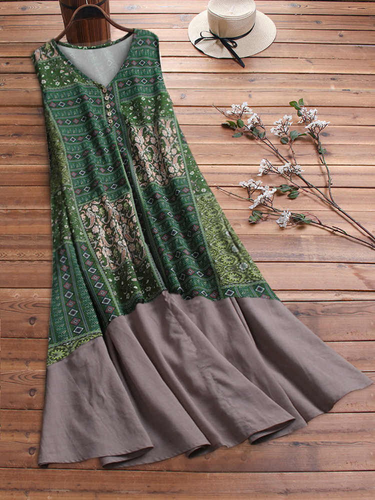 2019 4xl 5xl хлопковое льняное Ретро длинное платье с цветочным принтом bobo Повседневное платье без рукавов плюс размер Одежда большого размера женское платье