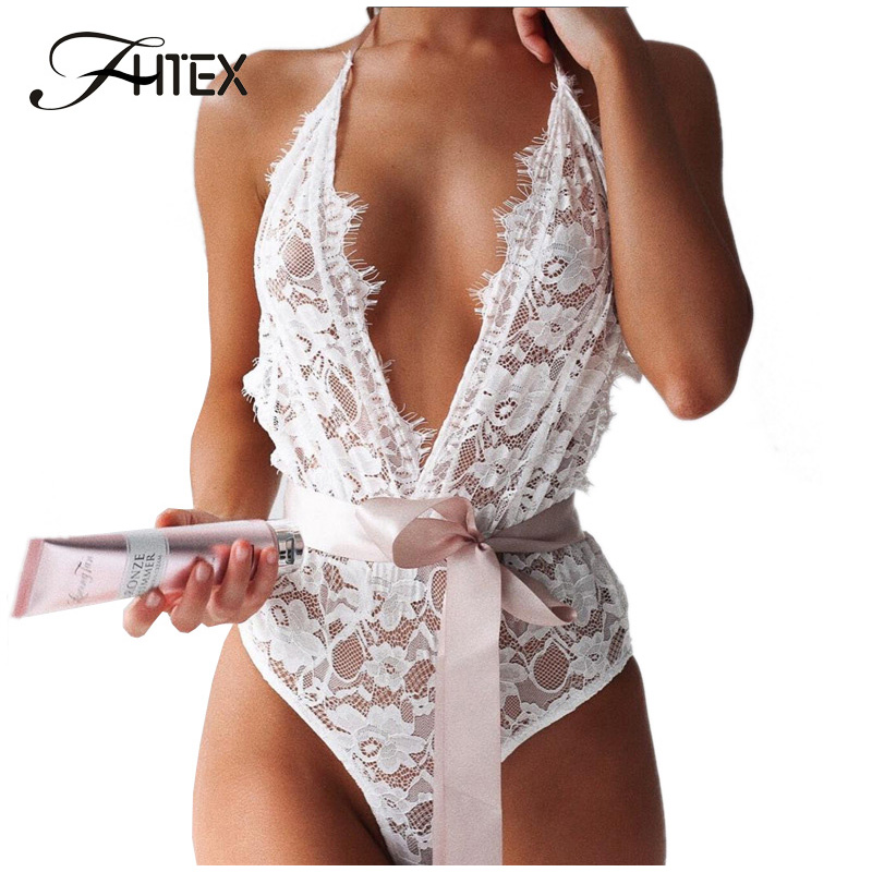 FHTEX Sexy See Through Lace Bodysuits Women Belted Spaghetti Strap Backless Slim Party Nightclub   Jumpsuit   Rompers V Neck Overall