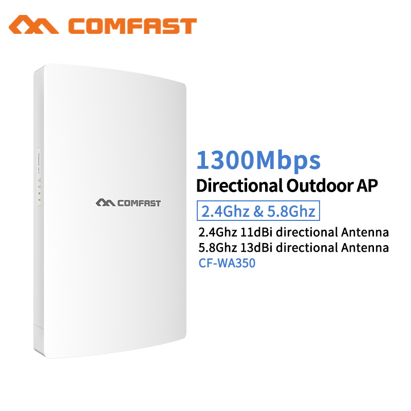 1300Mbps High Power Wifi Extender Outdoor Wifi AP Waterproof 802.11ac Wifi Repeater Router 5.8G Dual 5dbi External Antenna POE