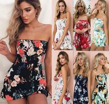 Women Playsuit  Summer Romper Bohemian Beach Casual Loose jumpsuit Print Sexy Strapless Off Shoulder Bodysuit
