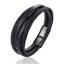 Дизайн многослойный ручной работы плетеный браслет из натуральной кожи и браслет для мужчин из нержавеющей стали модные браслеты подарки