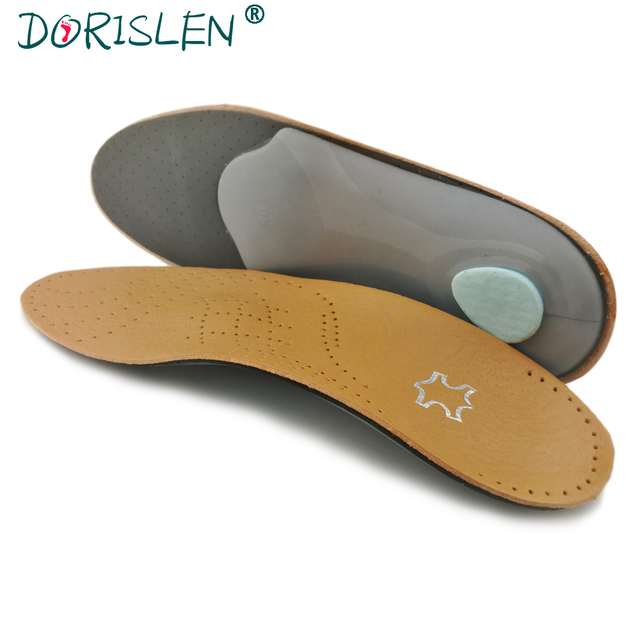 a60eb75695 DORISLEN Leather Orthopedic Insoles Arch Support Inserts Pads Suitable For  Men Women Shoes