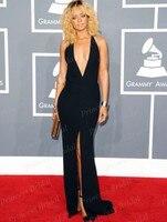 Sexy Open Back Fishtail Deep V Neeck Rihanna Black Plunging Backless Celebrity Dresses Grammy Awards 2012