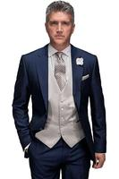 Two Buttons Notch Lapel5Pieces JacketPantHandkerchiefTieVent Navy Bule Formal Tuxedos Fashion Terno Custume Made High Quality