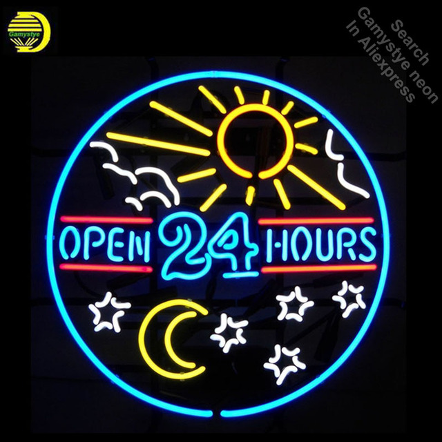Neon Signs for OPEN 24 hours Neon Bulbs sign Sun and Moon Real Glass Tube Decorate Wall neon light maker Signboard dropshipping