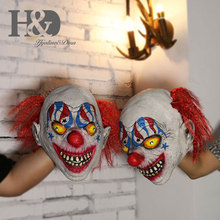 Scary Demon Clown Mask With red hair The Evil Circus Killer Clown Latex Adult Halloween Costume